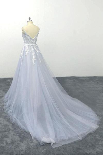Applique Tulle Spaghetti Strap A-line Wedding Dress_4