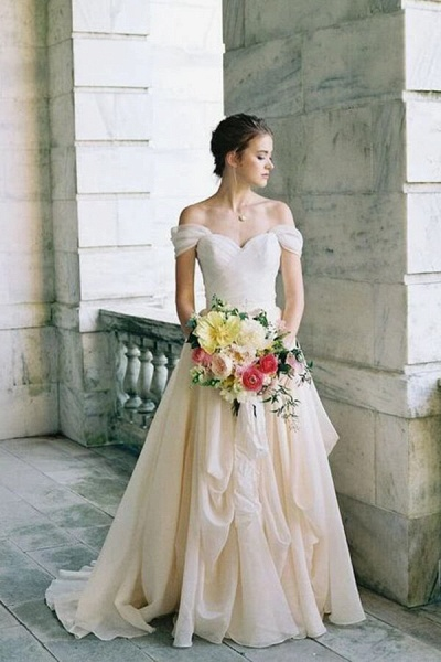 Ruffle Chiffon A-line Off Shoulder Wedding Dress_3