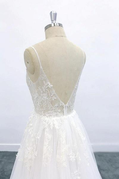 Graceful Appliques Tulle A-line Wedding Dress_7