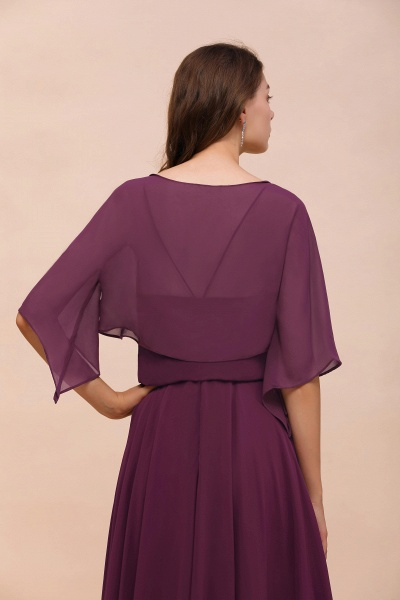 BM1089 3/4 Sleeves Grape Chiffon Special Occasions Wrap_3