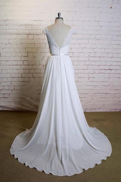 Cap Sleeve A-line Lace Chiffon Wedding Dress_3