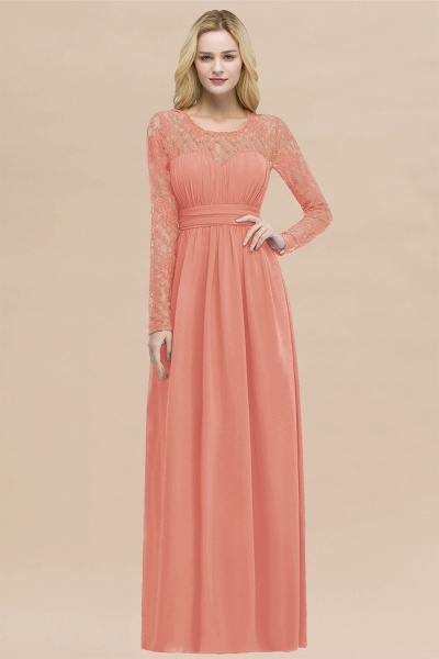 Elegant A-Line Chiffon Jewel Long Sleeves Ruffles Floor-Length Bridesmaid Dresses_45