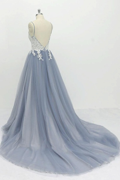 Chic Spaghetti Strap Appliques Tulle Wedding Dress_4