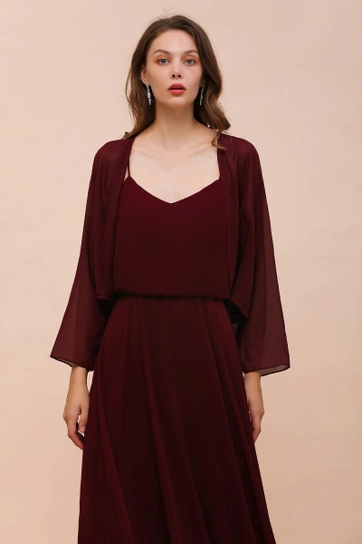 BM1088 Burgundy Long Sleeves Chiffon Special Occasions Wrap_3