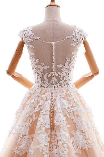 Applique Tulle Cathedral Train A-line Wedding Dress_6