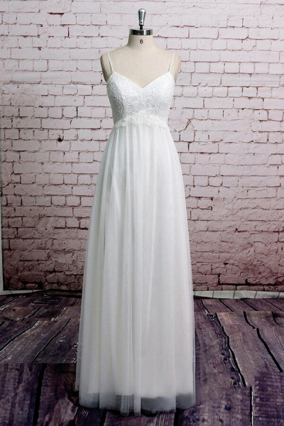 Empire Spaghetti Strap Lace Tulle Wedding Dress_1