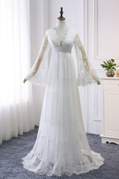 Empire Waist Long Sleeve Lace Tulle Wedding Dress_2