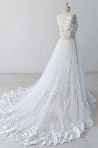 Elegant V-neck Lace Tulle A-line Wedding Dress_5