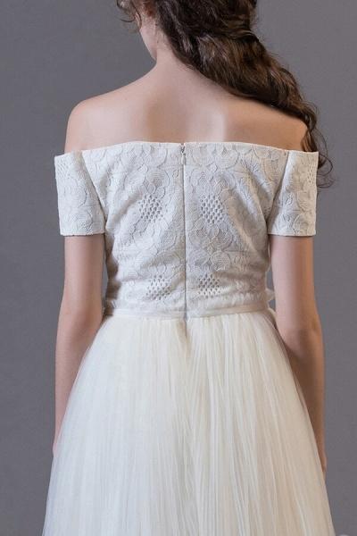 Off Shoulder Lace Tulle A-line Wedding Dress_6