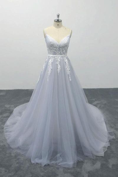Applique Tulle Spaghetti Strap A-line Wedding Dress_1