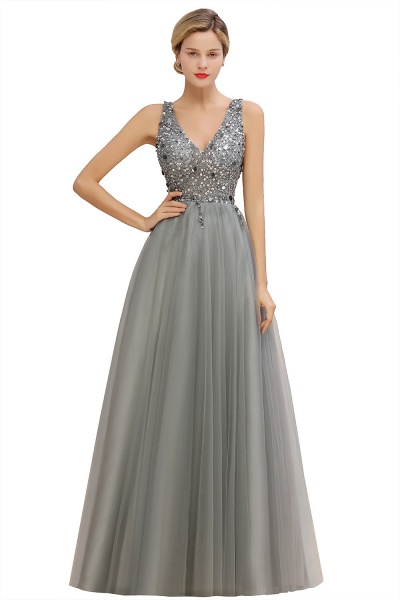 Fabulous V-neck Tulle A-line Prom Dress_4