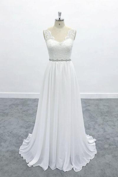 Awesome V-neck A-line Lace Chiffon Wedding Dress_1