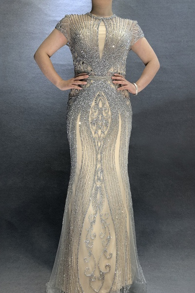 Wonderful Jewel Satin Mermaid Prom Dress_8