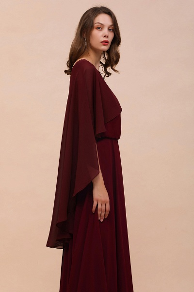 BM1087 Chiffon Burgundy Long Special Occasions Wrap_6