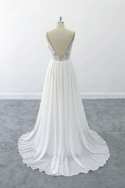 Graceful V-neck Lace Chiffon A-line Wedding Dress_3