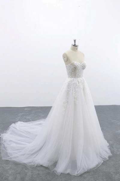 Appliques Strapless Tulle A-line Wedding Dress_5