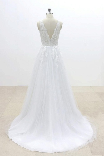 Ruffle V-neck Appliques Tulle A-line Wedding Dress_3