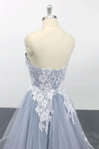 Amazing Strapless Lace Tulle A-line Wedding Dress_7