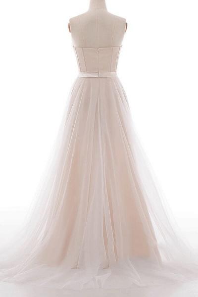 Graceful V-neck Lace Tulle A-line Wedding Dress_4