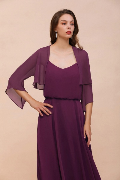 BM1089 3/4 Sleeves Grape Chiffon Special Occasions Wrap