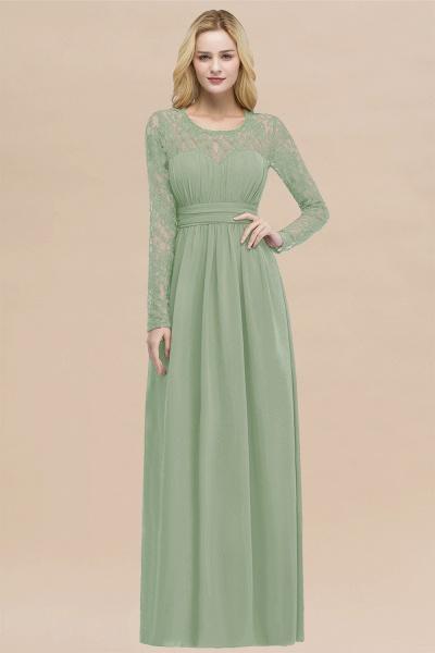 Elegant A-Line Chiffon Jewel Long Sleeves Ruffles Floor-Length Bridesmaid Dresses_41