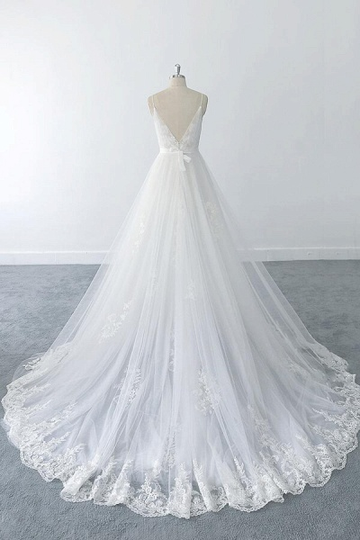 Amazing Ruffle Appliques Tulle A-line Wedding Dress_3