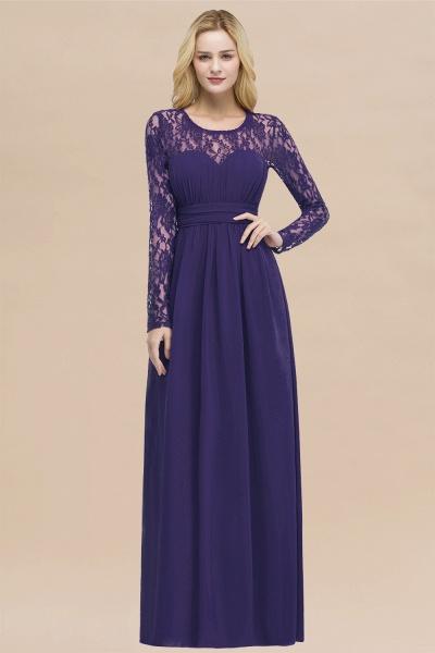 Elegant A-Line Chiffon Jewel Long Sleeves Ruffles Floor-Length Bridesmaid Dresses_19