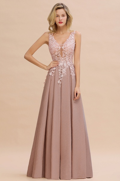 Attractive V-neck Lace A-line Evening Dress_20