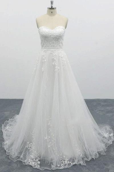 Strapless Tulle Chapel Train A-line Wedding Dress_1