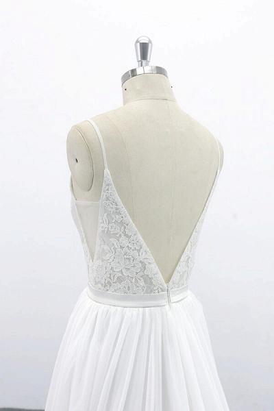 Spaghetti Strap Lace Chiffon A-line Wedding Dress_7