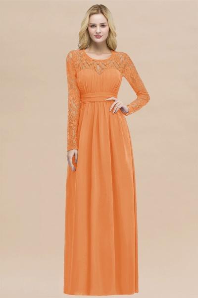 Elegant A-Line Chiffon Jewel Long Sleeves Ruffles Floor-Length Bridesmaid Dresses_15