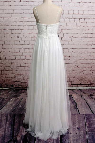 Empire Spaghetti Strap Lace Tulle Wedding Dress_3