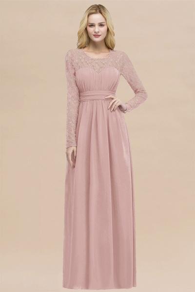 Elegant A-Line Chiffon Jewel Long Sleeves Ruffles Floor-Length Bridesmaid Dresses_6