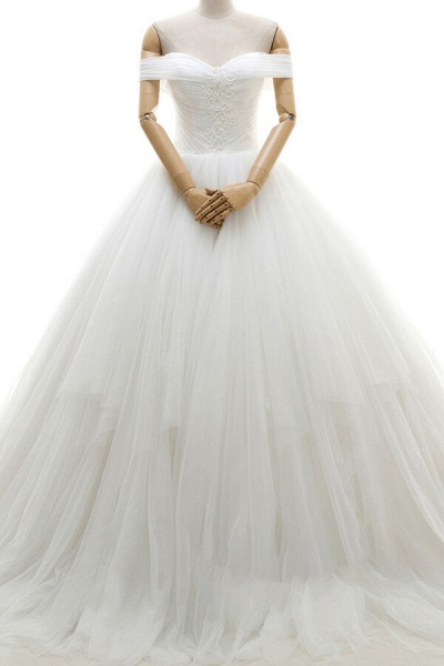 Lace-up Off Shoulder Ruffle Tulle Wedding Dress_1