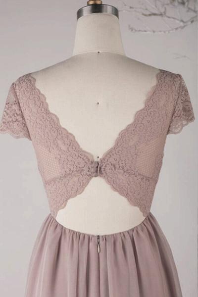 Cap Sleeve V-neck Lace Chiffon A-line Wedding Dress_4