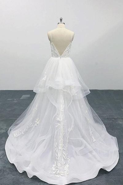 Best Appliques Spaghetti Strap Tulle Wedding Dress_3