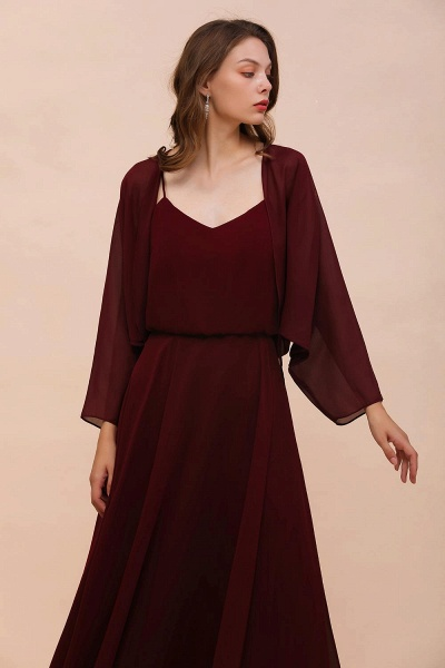 BM1088 Burgundy Long Sleeves Chiffon Special Occasions Wrap_7