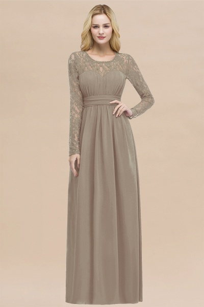 Elegant A-Line Chiffon Jewel Long Sleeves Ruffles Floor-Length Bridesmaid Dresses_16