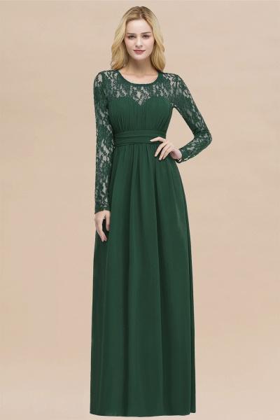 Elegant A-Line Chiffon Jewel Long Sleeves Ruffles Floor-Length Bridesmaid Dresses_31