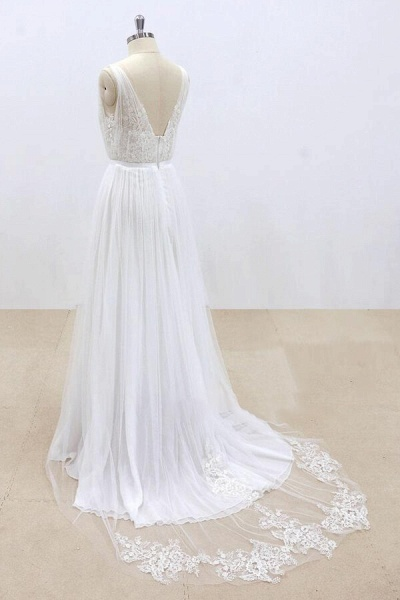 Amazing Ruffle Tulle Appliques A-line Wedding Dress_5