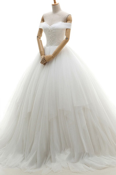 Lace-up Off Shoulder Ruffle Tulle Wedding Dress_4
