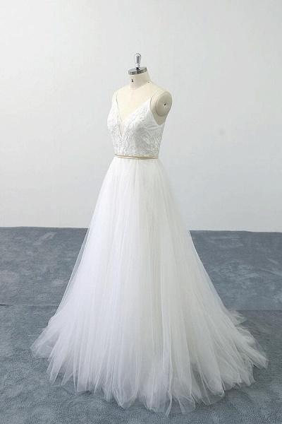 Chic Spaghetti Strap Appliques Tulle Wedding Dress_5