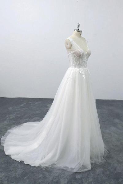 Lace-up V-neck Appliques Tulle A-line Wedding Dress_5