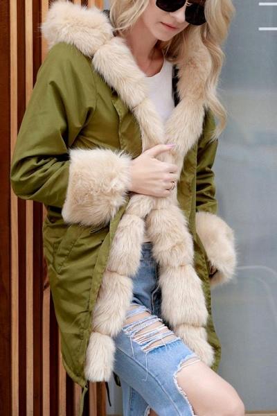 Winter Overcoat Hooded Parka Coat Faux Fur Coats_2