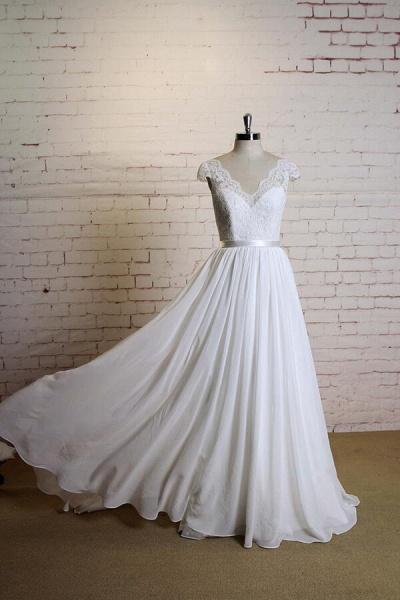 Cap Sleeve A-line Lace Chiffon Wedding Dress_4