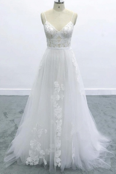 Best Spaghetti Strap Appliques Tulle Wedding Dress_1