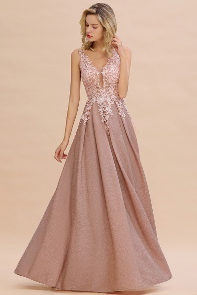 Attractive V-neck Lace A-line Evening Dress_1