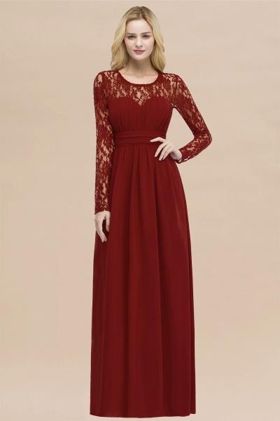 Elegant A-Line Chiffon Jewel Long Sleeves Ruffles Floor-Length Bridesmaid Dresses_48