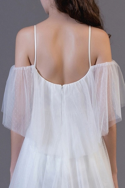 Awesome Cold-shoulder Tulle High-low Wedding Dress_6