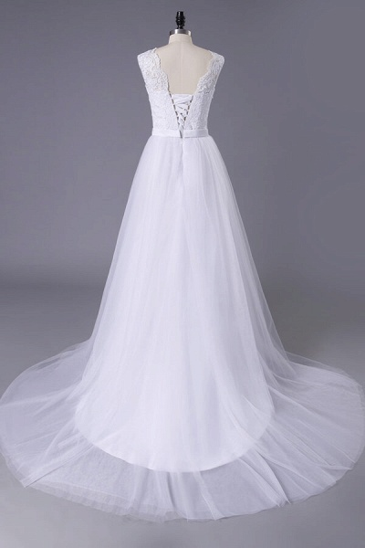 Chic Illusion Lace Tulle A-line Wedding Dress_2